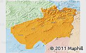 Political 3D Map of Souk Ahras, lighten