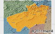 Political 3D Map of Souk Ahras, semi-desaturated