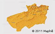Political 3D Map of Souk Ahras, single color outside
