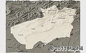 Shaded Relief 3D Map of Souk Ahras, darken