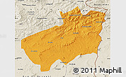 Political Map of Souk Ahras, shaded relief outside