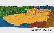 Political Panoramic Map of Souk Ahras, darken