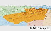Political Panoramic Map of Souk Ahras, lighten