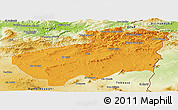 Political Panoramic Map of Souk Ahras, physical outside