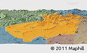 Political Panoramic Map of Souk Ahras, semi-desaturated