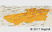 Political Panoramic Map of Souk Ahras, shaded relief outside