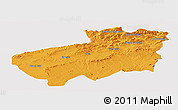 Political Panoramic Map of Souk Ahras, single color outside