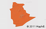 Political 3D Map of Tamanrasset, cropped outside