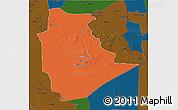 Political 3D Map of Tamanrasset, darken