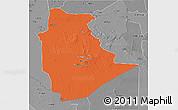Political 3D Map of Tamanrasset, desaturated
