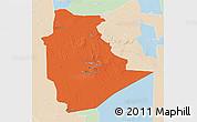 Political 3D Map of Tamanrasset, lighten