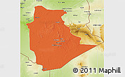 Political 3D Map of Tamanrasset, physical outside