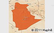 Political 3D Map of Tamanrasset, satellite outside