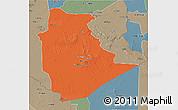 Political 3D Map of Tamanrasset, semi-desaturated