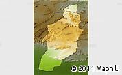 Physical 3D Map of Tebessa, darken
