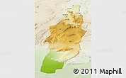 Physical 3D Map of Tebessa, lighten