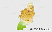 Physical 3D Map of Tebessa, single color outside
