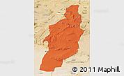 Political 3D Map of Tebessa, satellite outside