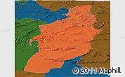 Political Panoramic Map of Tebessa, darken