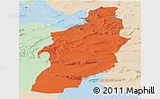 Political Panoramic Map of Tebessa, lighten