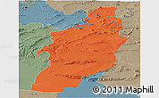 Political Panoramic Map of Tebessa, semi-desaturated