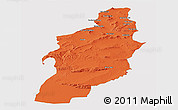 Political Panoramic Map of Tebessa, single color outside