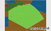 Political 3D Map of Tendouf, darken