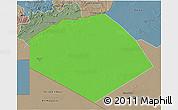 Political 3D Map of Tendouf, semi-desaturated