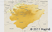 Physical 3D Map of Tiaret, shaded relief outside