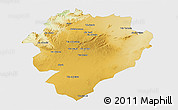 Physical 3D Map of Tiaret, single color outside
