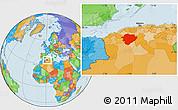 Political Location Map of Tiaret