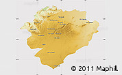 Physical Map of Tiaret, cropped outside