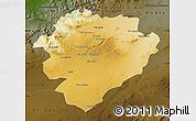 Physical Map of Tiaret, darken