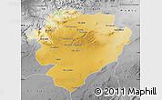 Physical Map of Tiaret, desaturated