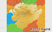 Physical Map of Tiaret, political outside