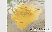 Physical Map of Tiaret, semi-desaturated