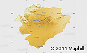 Physical Map of Tiaret, single color outside