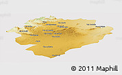 Physical Panoramic Map of Tiaret, cropped outside