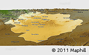 Physical Panoramic Map of Tiaret, darken