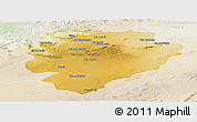 Physical Panoramic Map of Tiaret, lighten