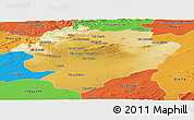 Physical Panoramic Map of Tiaret, political outside