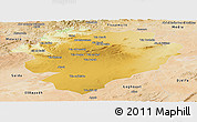 Physical Panoramic Map of Tiaret, satellite outside