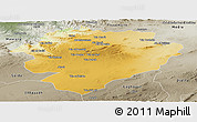 Physical Panoramic Map of Tiaret, semi-desaturated