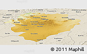 Physical Panoramic Map of Tiaret, shaded relief outside