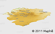 Physical Panoramic Map of Tiaret, single color outside