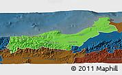 Political 3D Map of Tipaza, darken