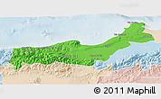 Political 3D Map of Tipaza, lighten