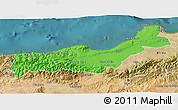 Political 3D Map of Tipaza, satellite outside