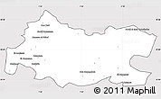 Silver Style Simple Map of Tissemsilt, cropped outside
