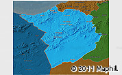 Political 3D Map of Tlemcen, darken